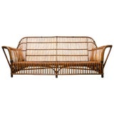 Image of Wicker Antique Mid-Century Sofa For Sale