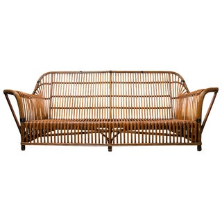 Wicker Antique Mid-Century Sofa For Sale