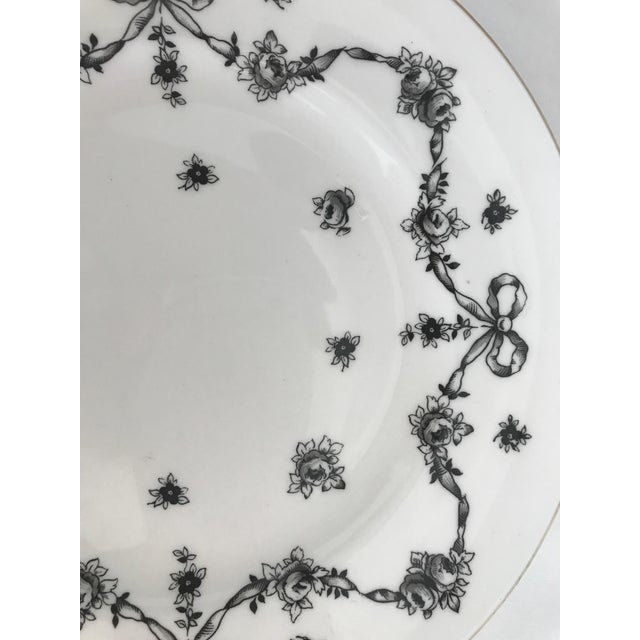 Antique Royal Victoria Black & White Floral Plate - Image 3 of 6
