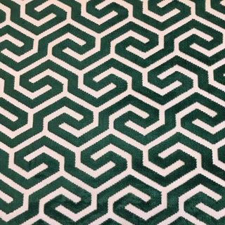 "Schumacher ""Ming Fret Velvet"" Emerald Fabric - 11 Yards For Sale"