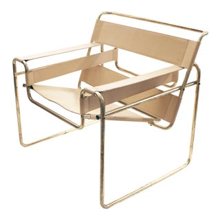 Marcel Breuer Style Brass & Leather Armchair