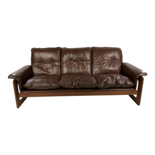 Mid-Century Danish Teak & Leather Lounge Sling Couch For Sale