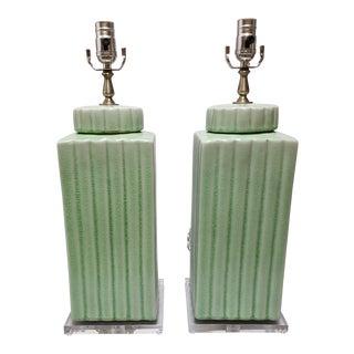 Modern Celadon Porcelain Square Lamps - a Pair For Sale