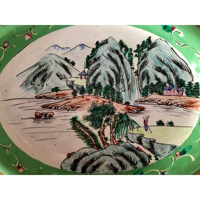 Early 20th Century 1930s Chinese Canton Hand-Painted Enamel Oval Dish With Mountain Scene For Sale - Image 5 of 6