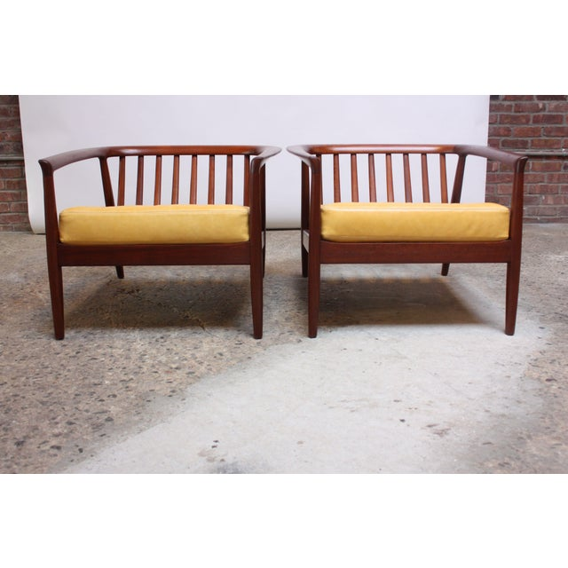 Wood Folke Ohlsson for Dux Swedish Modern Leather and Teak Lounge Chairs- A Pair For Sale - Image 7 of 13
