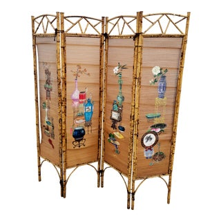 Vintage Bamboo Folding Screen For Sale