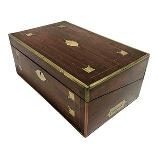 19th Century English Brass & Rosewood Writing Box For Sale