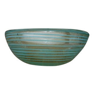 Seafoam Stipe Murano Bowl Attributed to Fratelli Toso For Sale