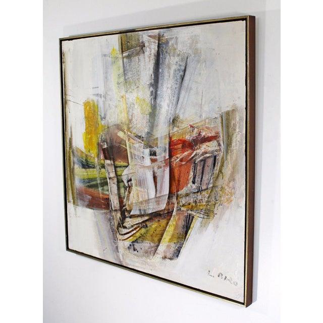 Ljubo Biro Mid Century Modern Framed Mixed Media Acrylic Abstract Painting by Ljubo Biro For Sale - Image 4 of 11