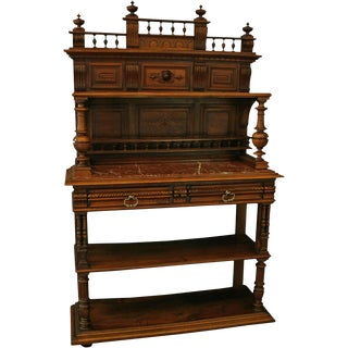 Antique French Walnut & Red Marble Server For Sale