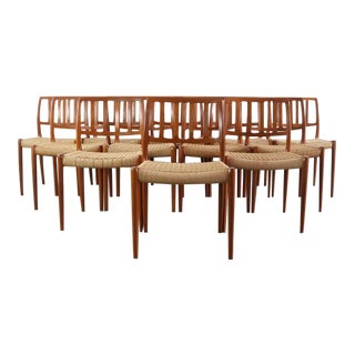 Niels Moller for J.L. Møllers Møbelfabrik Model #83 Teak Dining Chairs with Danish Cord - A Set of 12, Denmark For Sale