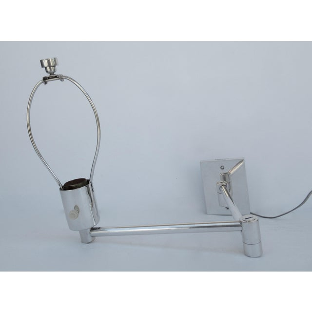 Hansen Lighting Co. Vintage C.1970's Georg Hanson for Hanson Lighting Co. Chrome-Plated Swing-Arm Wall Sconce- Single For Sale - Image 4 of 13