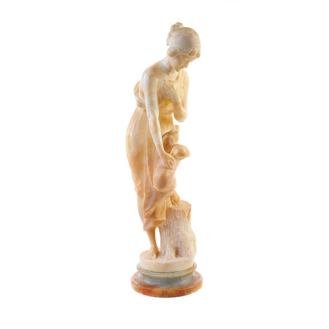Female With Birds Alabaster Sculpture For Sale - Image 9 of 9