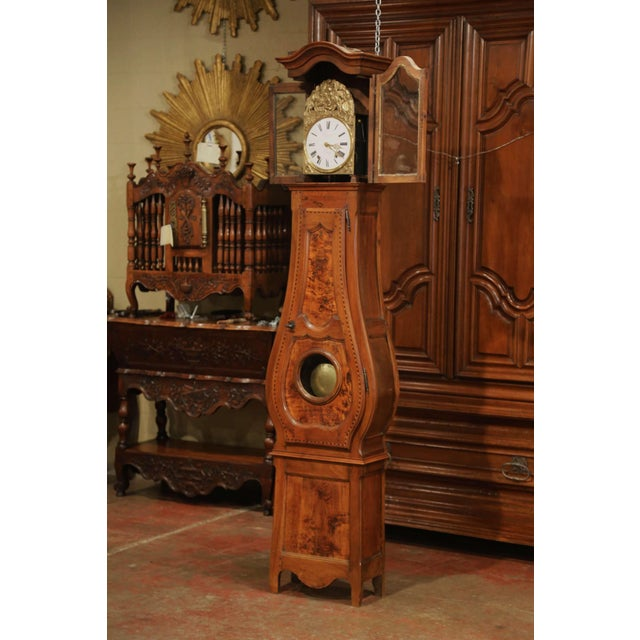 Gold Late 18th Century French Louis XV Carved Burl Walnut Tall Case Clock From Lyon For Sale - Image 8 of 13