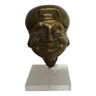 Mid-Century Bronze Buddha Head For Sale