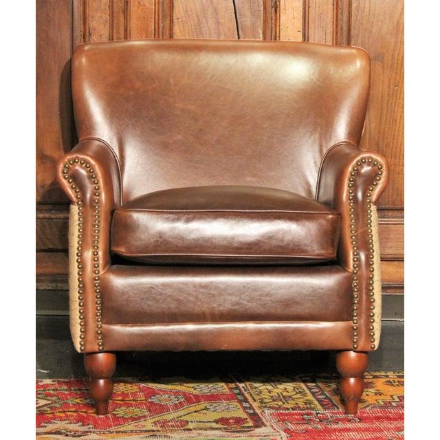 Leather & Burlap Script Chair - Image 2 of 5