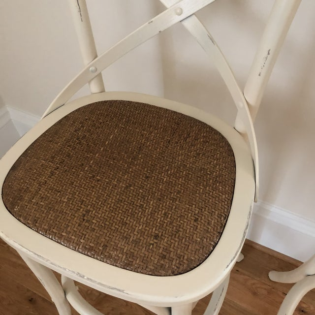 Wood French Style Cadence Counter Stools - a Pair For Sale - Image 7 of 8