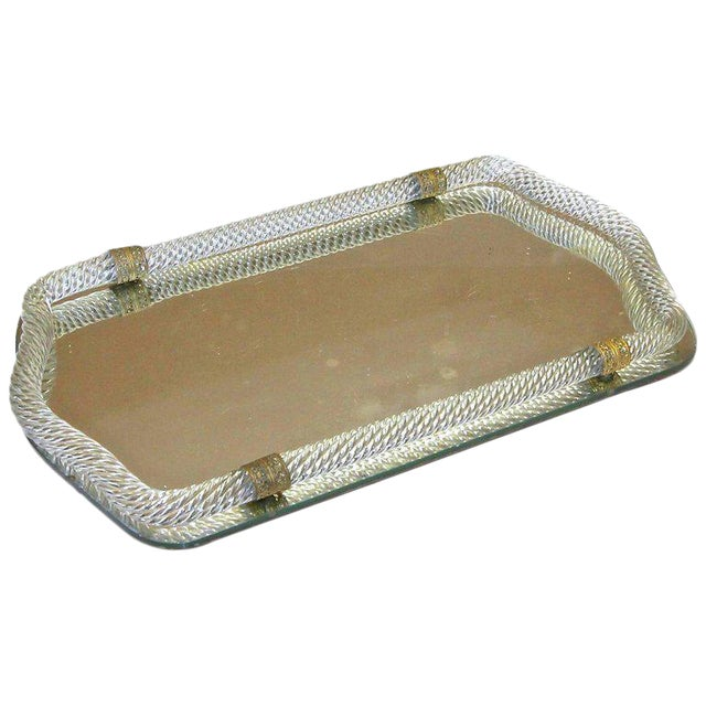Italian Murano Twisted Glass Rope Vanity Tray For Sale