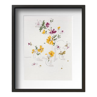 """Yellow Flower"" Contemporary Still Life Drawing by Tang Wen Ching, Framed For Sale"