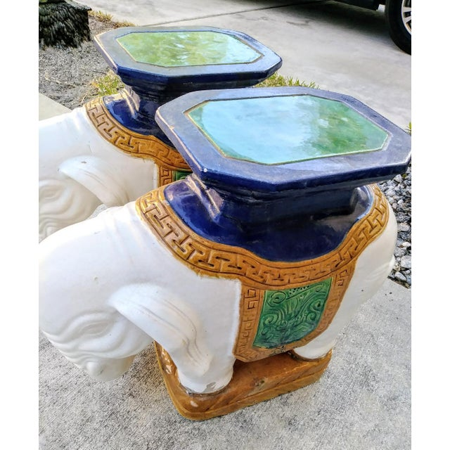 Plaster A Pair Vintage Chinoiserie Palm Beach Regency Colorful Elephant Garden Stools Tables For Sale - Image 7 of 10