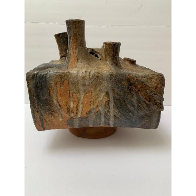 Brown Brutalist Ceramic Sculpture Weed Pot Vessel Ikebana Vase For Sale - Image 8 of 8