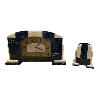 Vintage Art Deco Onyx and Marble Mantel Clock and Bookend - 2 Pieces For Sale