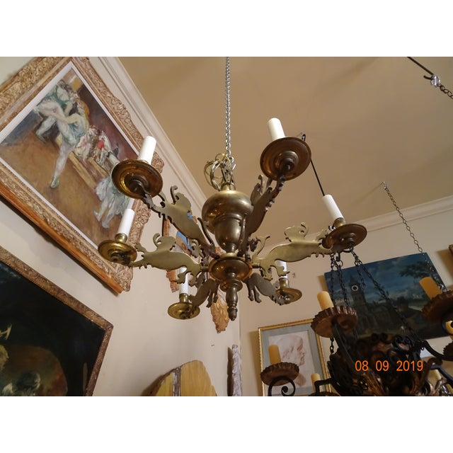 Gold 19th Century Belgium Brass Chandelier For Sale - Image 8 of 10
