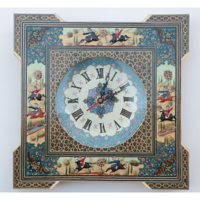 Blue Persian Khatam Marquetry Clock For Sale - Image 8 of 8
