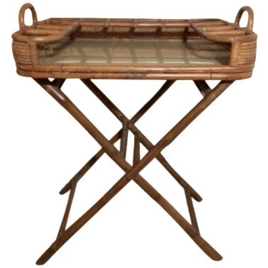 Vintage Rattan Folding Mini Bar - Image 1 of 8