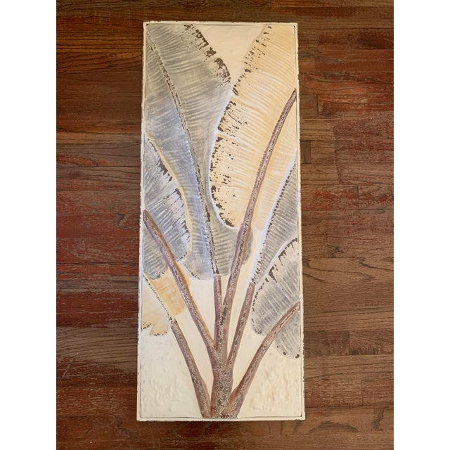 Antique White Pressed Tin Triptych of Painted Banana Leaves by Kalalou - 3 Pieces For Sale - Image 8 of 13