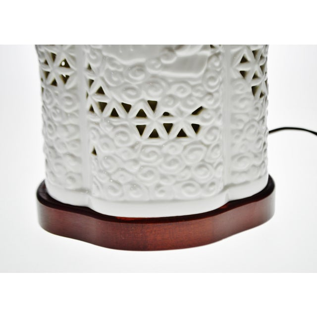 Seyei Blanc De Chine Reticulated Porcelain Lamp - Image 7 of 11