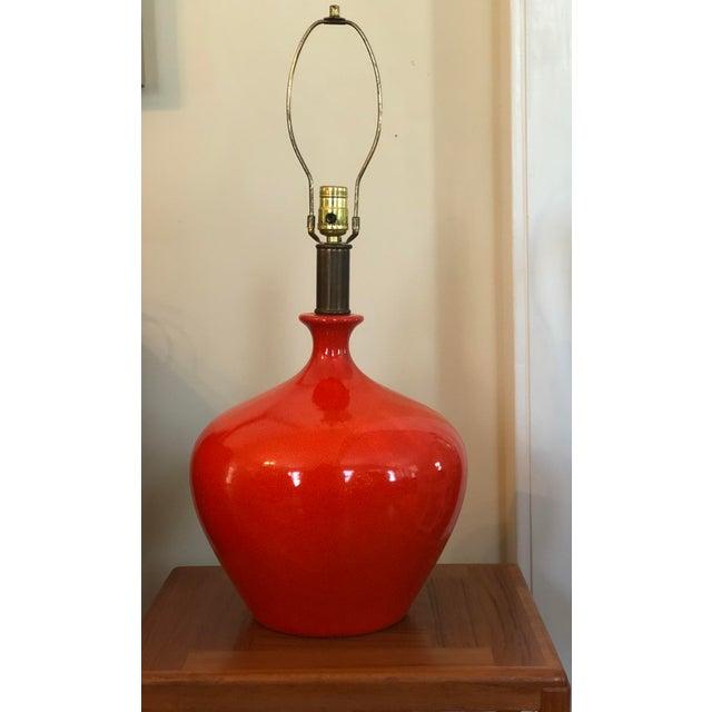 Mid-Cenutry Modern Orange Crackle Glaze Table Lamp For Sale - Image 5 of 5
