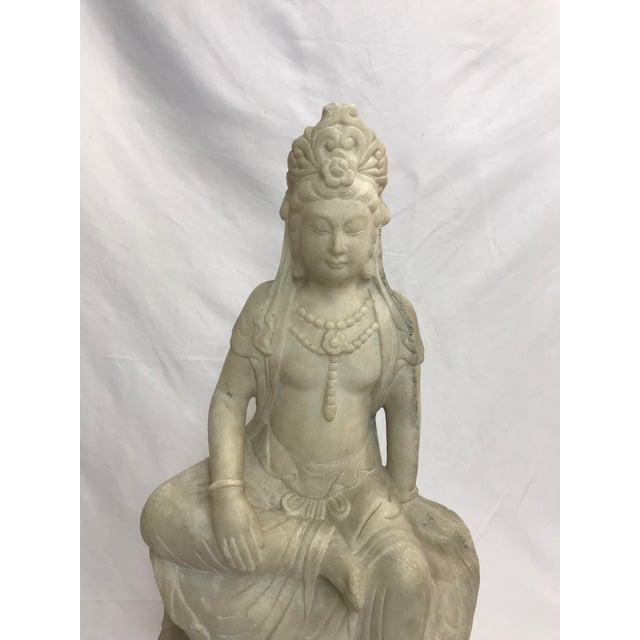 Asian Guanyin / Guan Yin Bodhisattva Marble Goddess of Mercy Seated Buddha Statue For Sale - Image 3 of 12