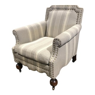 Nailhead Trim Gray Striped Armchair