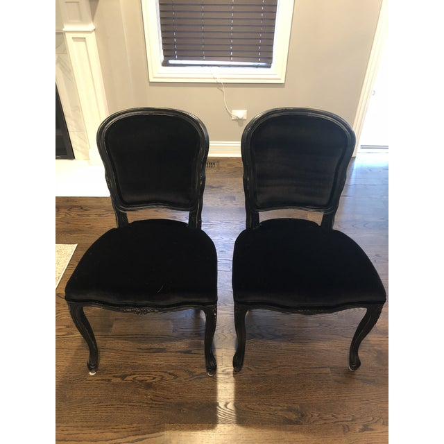 Black Traditional French Black Velvet Side Chairs - a Pair For Sale - Image 8 of 10