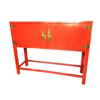 1950s Hollywood Regency Red Lacquer Wooden Entry Table