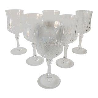 Elegant Clear Cut Glass Wine Glasses S/6 For Sale