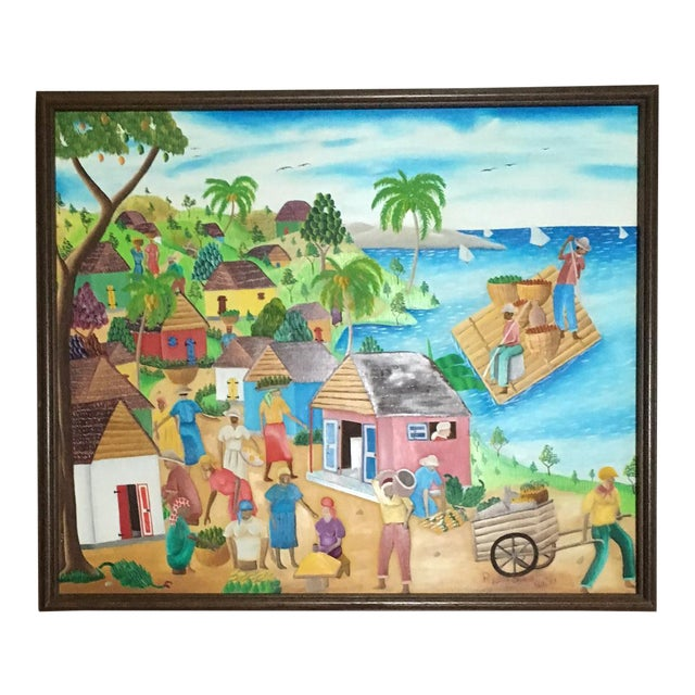 Mid-Century Haitian Painting by Raymond Surpris For Sale