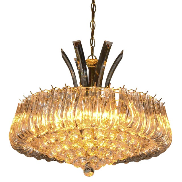 Mid Century Modern Triarch Lucite Chandelier - Image 1 of 9