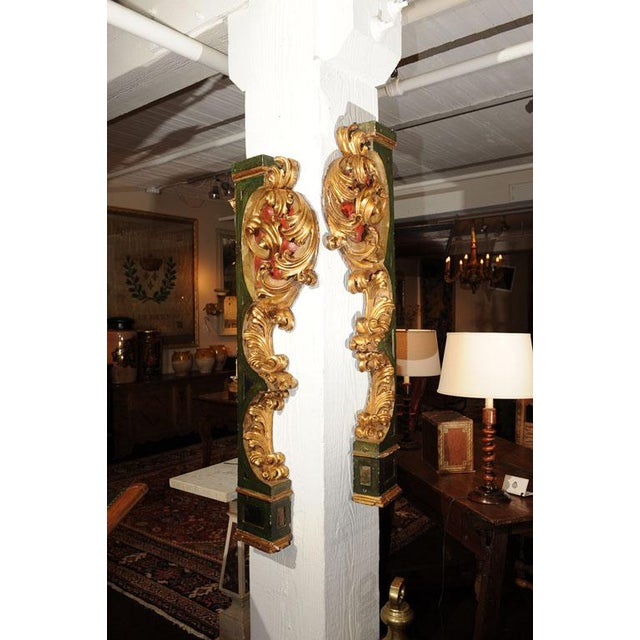 """Elegant Pair of Paint and Giltwood Architectural Carvings; Italian circa 1800. 7"""" x 5"""" x 51""""H."""