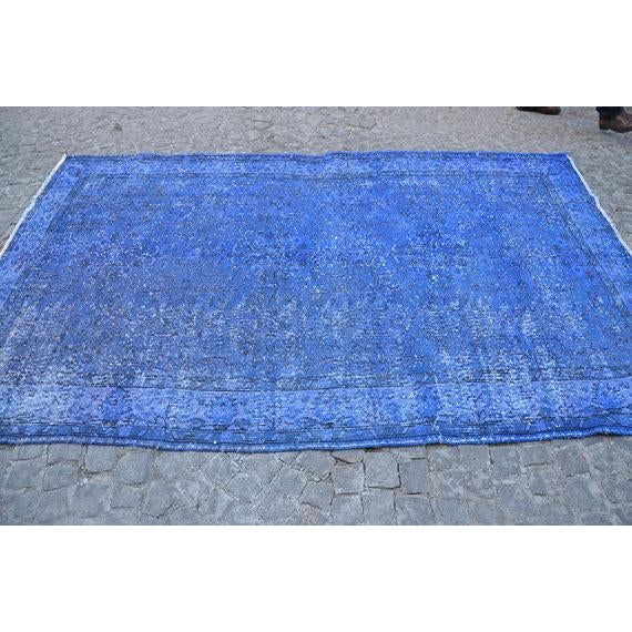 """Blue Overdyed Rug -- 5'10"""" x 9'4"""" For Sale - Image 5 of 6"""