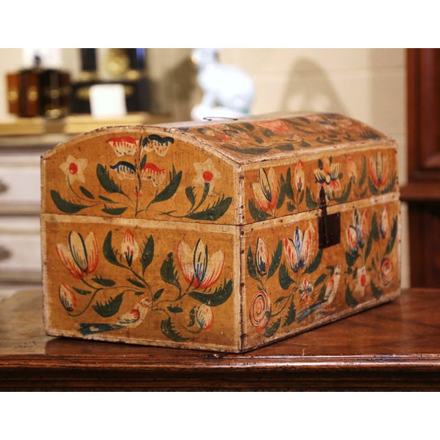 This beautifully executed antique wedding trunk was crafted in Normandy France, circa 1780. The colorful, arched box is...