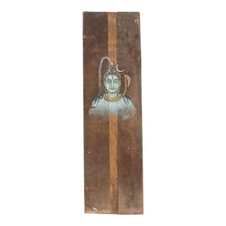Antique Shiva Architectural Painted Panel For Sale