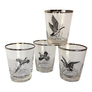 Mid-Century Modern by Federal Glass Platinum Rim Lo-Ball Game Bird Glasses - Set of 4 For Sale