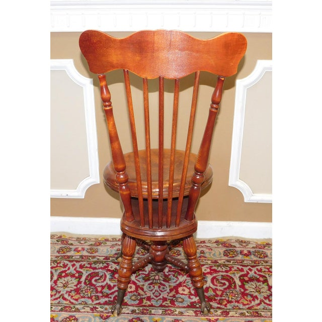 Maple Antique Maple & Walnut Victorian Era Windsor Piano Chair Stool c1900 For Sale - Image 7 of 9