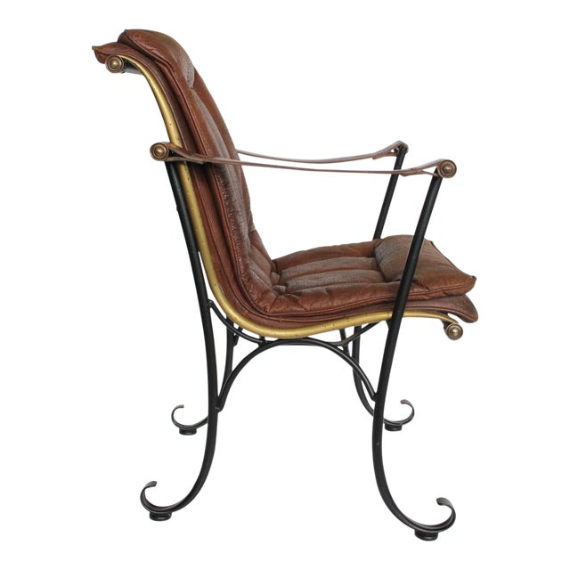 1940's Vintage Lee Woodard Leather and Iron Armchair For Sale