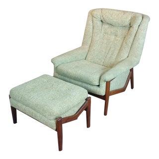 Mid-Century Modern Danish Armchair & Ottoman, 1960s - A Pair For Sale