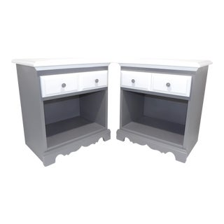 Mid Century Modern Wood Gray & White Nightstands - a Pair For Sale