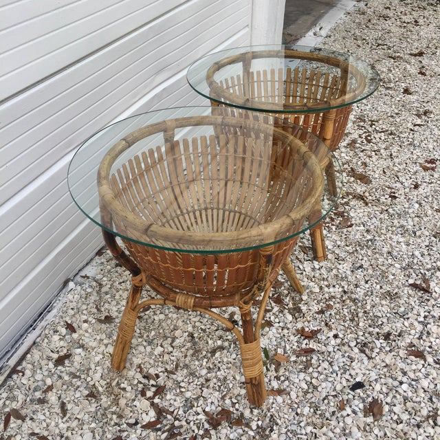 Vintage Rattan Fish Basket Tables -- A Pair For Sale - Image 4 of 6