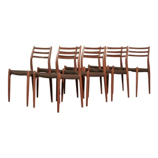 Vintage Niels O Møller Model 78 Dining Chairs- Set of 8 For Sale